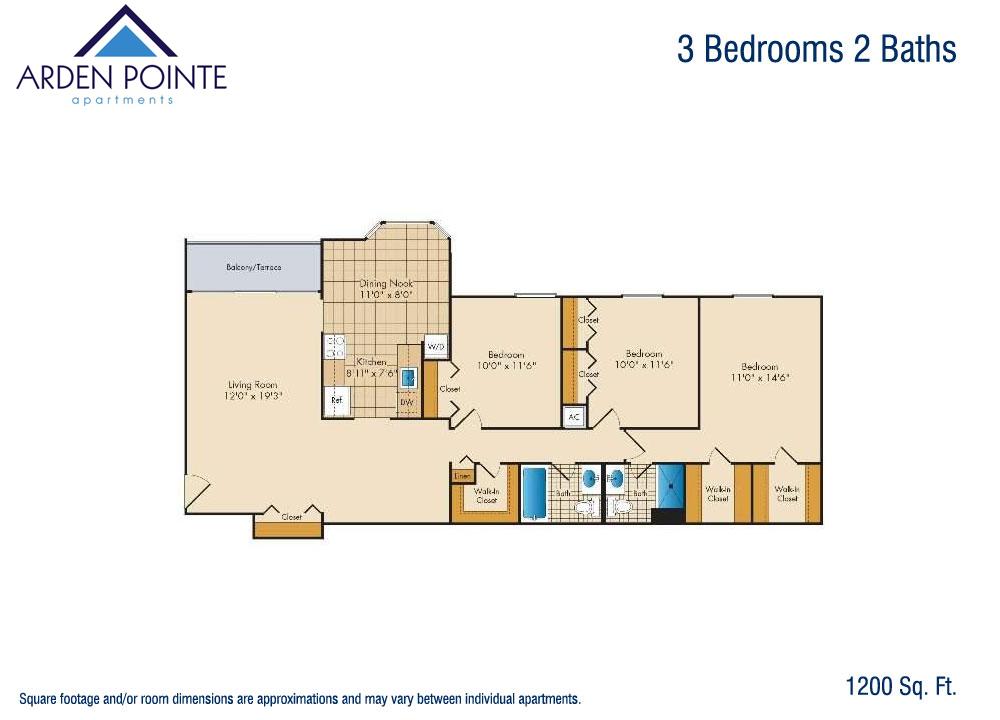 3 Bedroom 1 5 Bath Arden Pointe Apartmentsarden Pointe Apartments